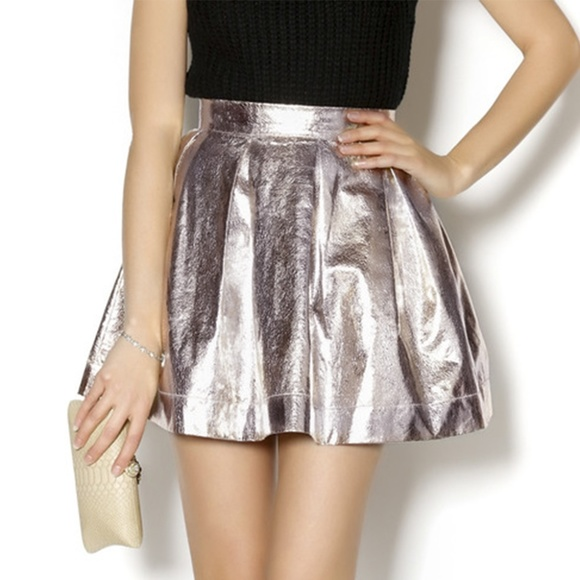 5e09f3d4c0f ASOS Dresses   Skirts - HONEY PUNCH Silver Metallic High Waisted Skirt SM